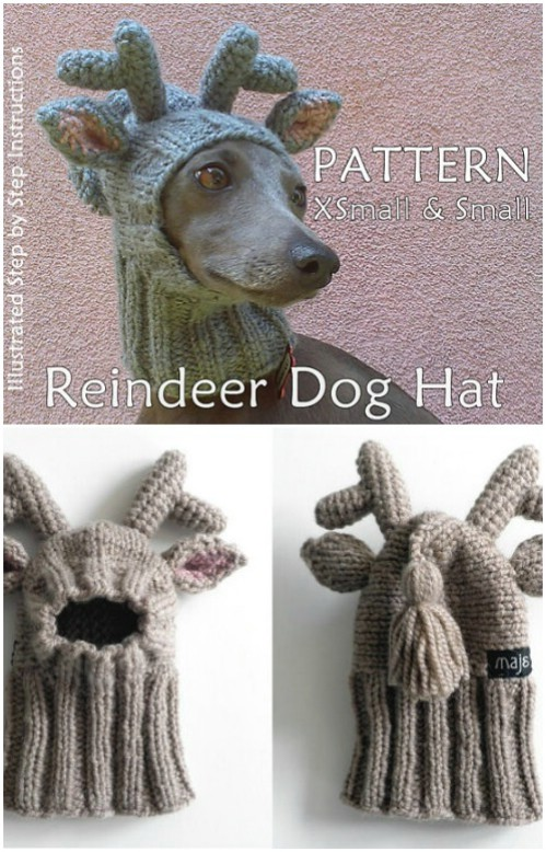 Adorable Knit Dog Reindeer Hat