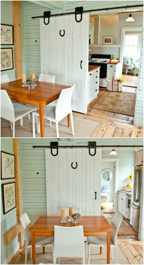 Cute Kitchen Barn Door with Horseshoe