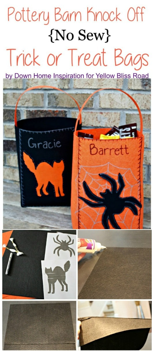No Sew Pottery Barn Knockoff Halloween Candy Bags