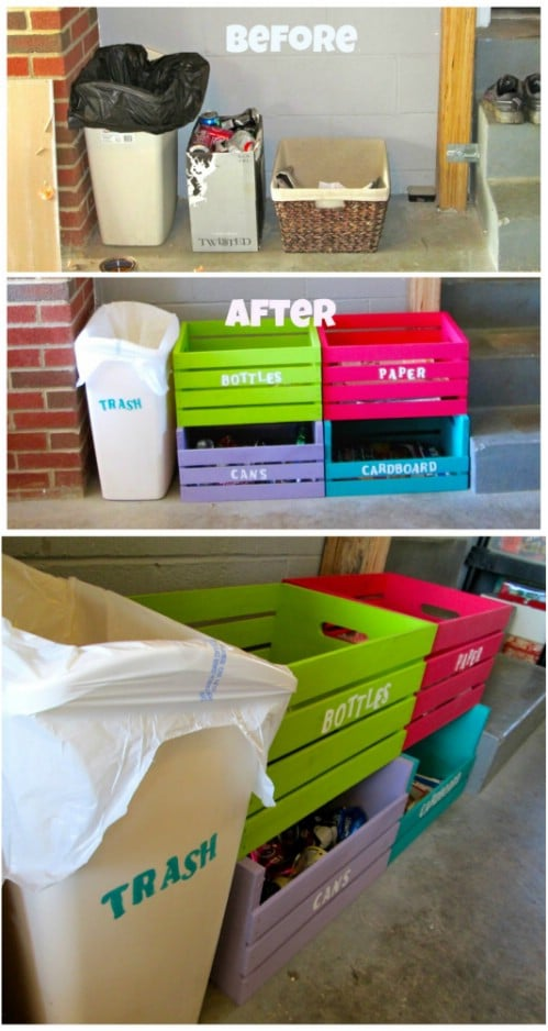 Repurposed Wooden Crate Recycling Bins - 20 DIY Home Recycling Bins That Help You Organize Your Recyclables
