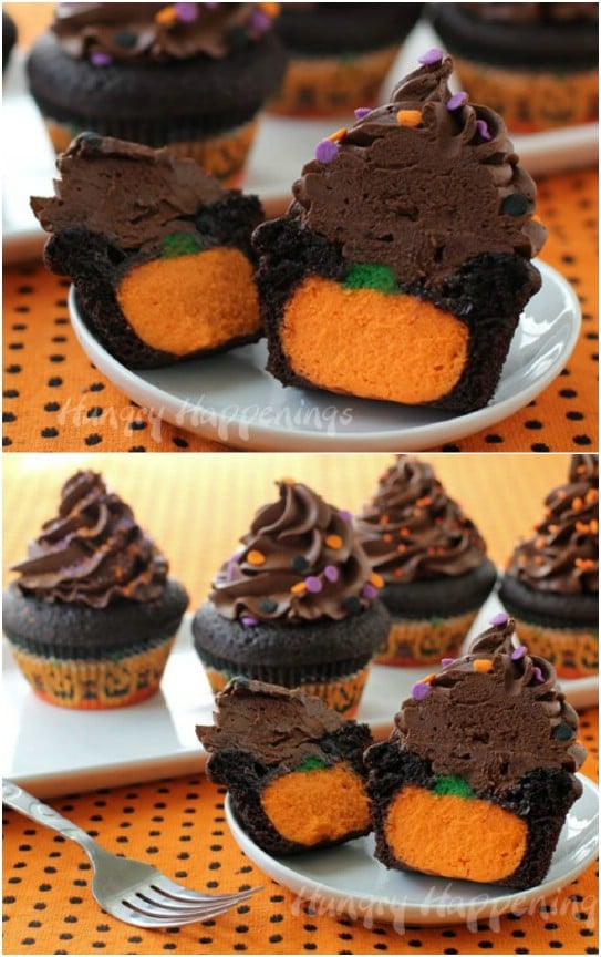 Cheesecake Stuffed Halloween Cupcakes