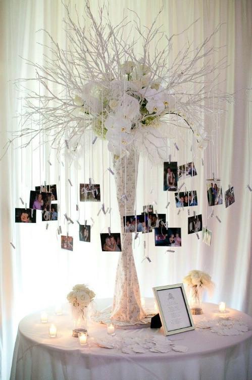 Reception Table Centerpiece Photo Display