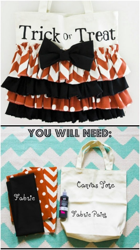 Simple DIY Ruffled Halloween Candy Tote