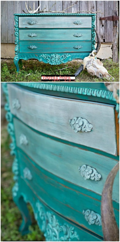 Here is yet another gorgeous teal ombre dresser.