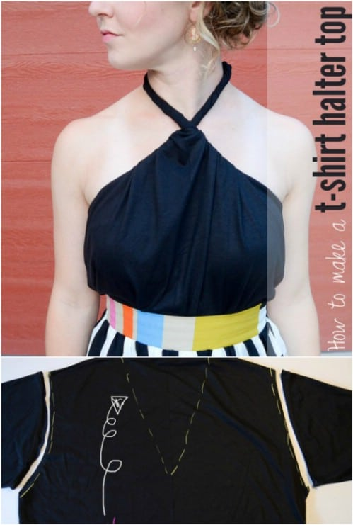 Turn your T-shirt into a cute halter top.