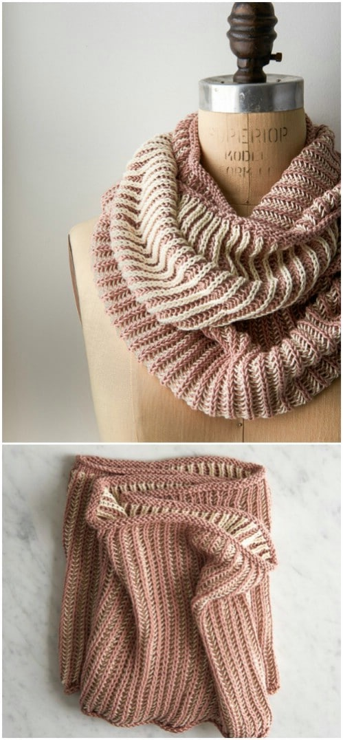 Fisherman's Rib Two Color Cowl