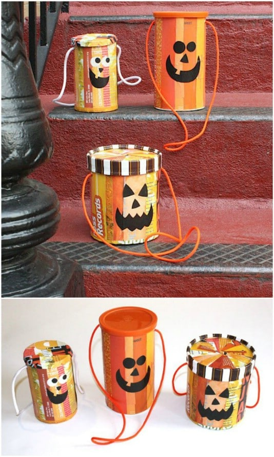 Upcycled Oatmeal Container Trick-Or-Treat Bucket