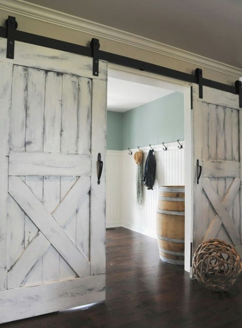 Sliding Barn Doors in Renovated Rancher Home