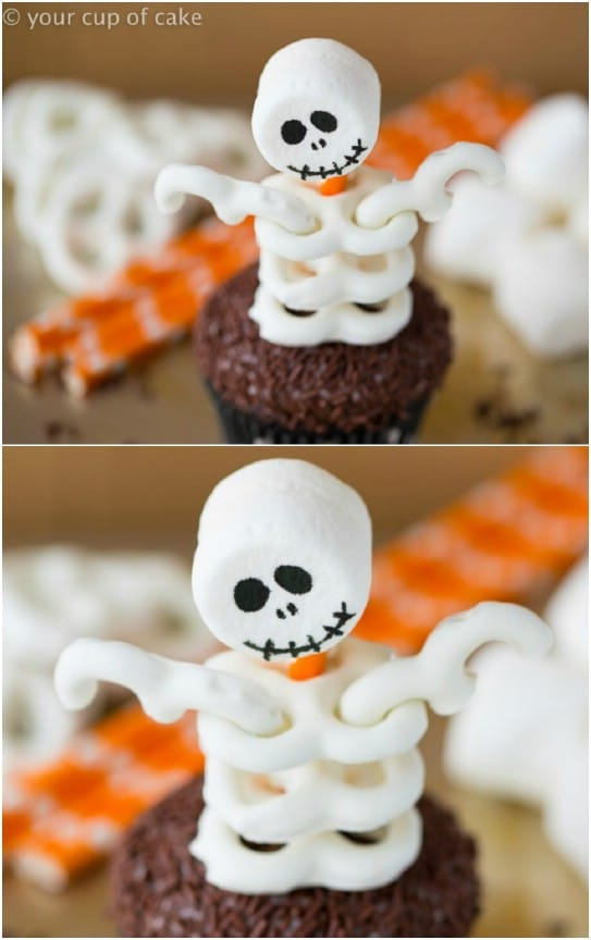 Pretzel And Marshmallow Skeleton Cupcakes