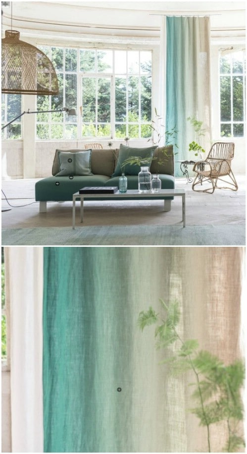 Do not be afraid to use a horizontal ombre spectrum on your curtains.