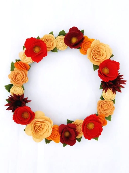 Harvest Felt Flower Wreath