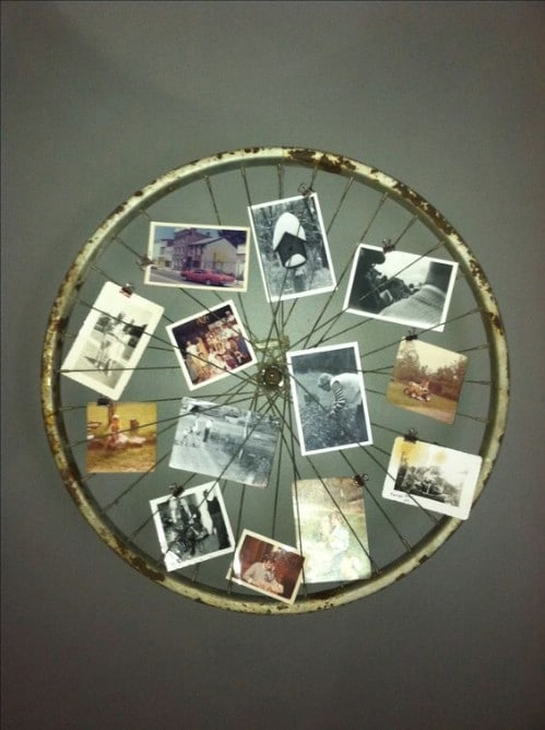 DIY Bicycle Tire Photo Display