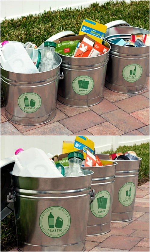 Easy Metal Bucket Recycling Station - 20 DIY Home Recycling Bins That Help You Organize Your Recyclables