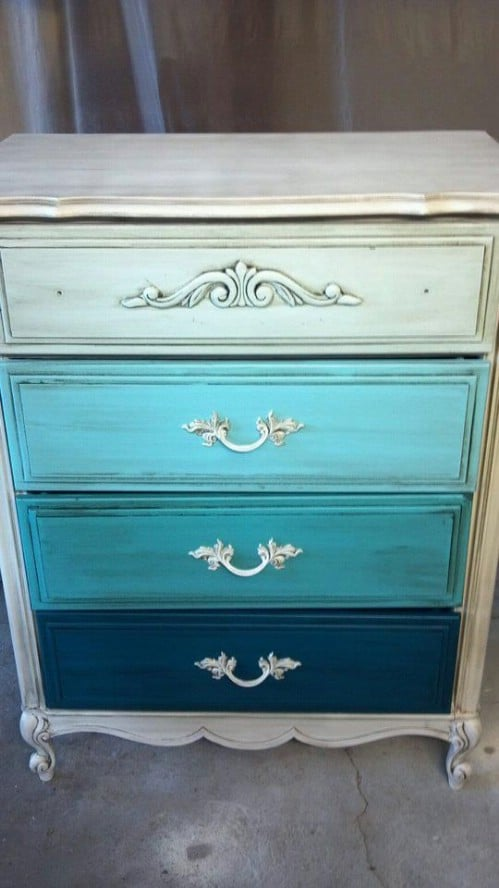 Paint your dresser drawers with ombre hues.