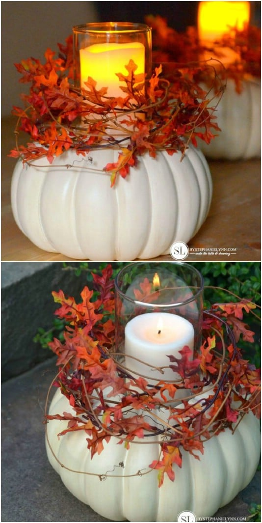 DIY Outdoor Pumpkin Candle Holders