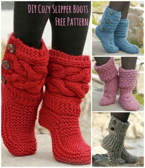 Cozy Knit Slipper Boots