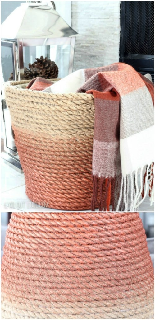 Cover a basket in ombre twine or rope.