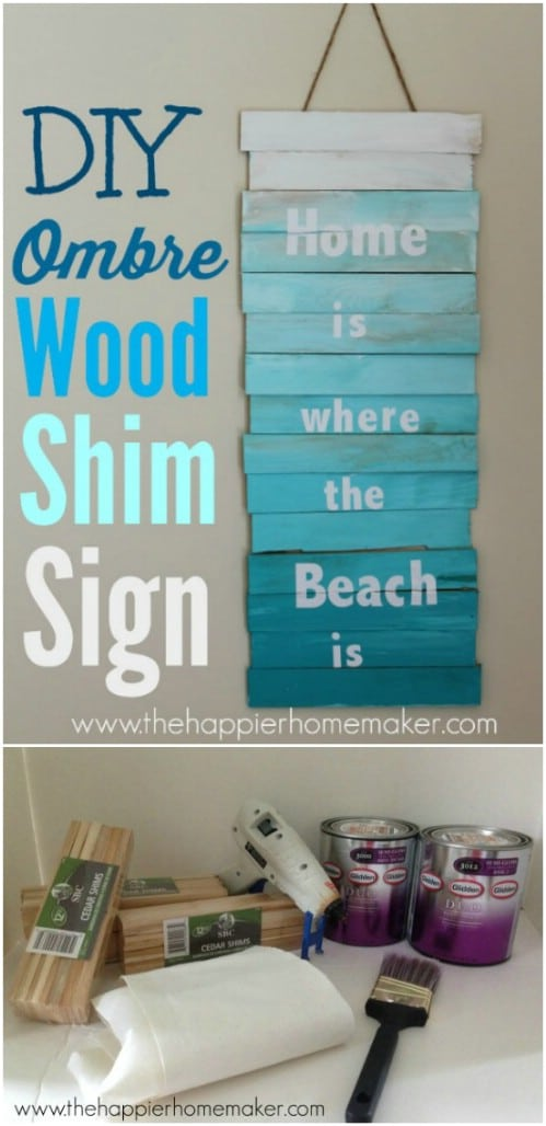 Make a cute homespun sign in ombre colors.