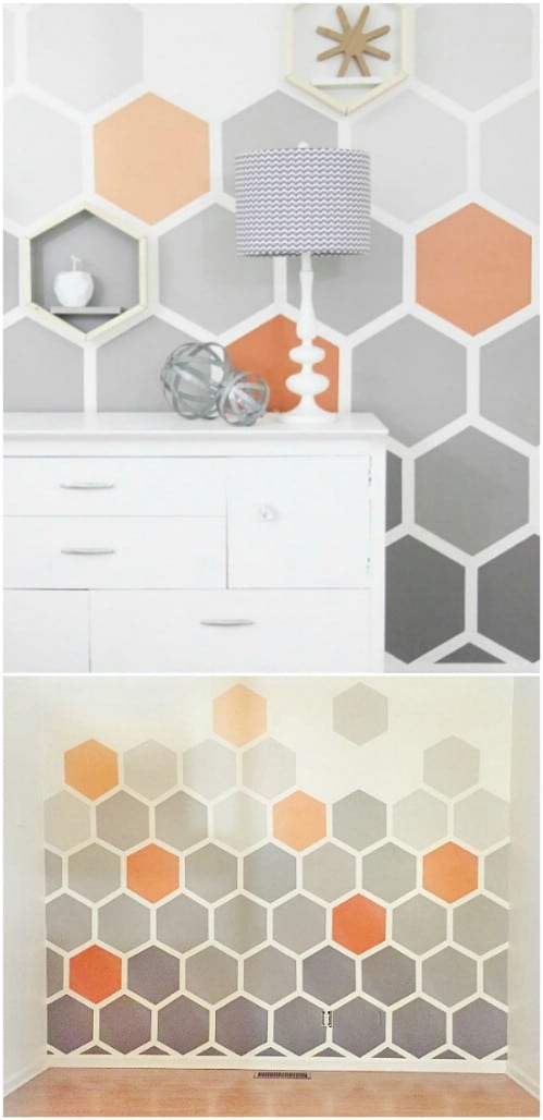 Cover your wall in ombre hexagons.