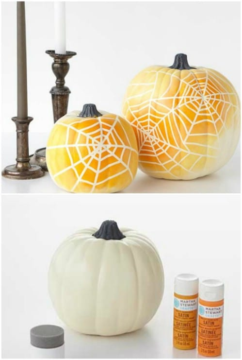 Make ombre spiderweb pumpkins to celebrate Halloween.