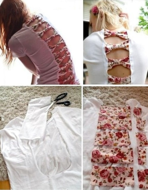 Make a line of bows along the back of your T-shirt.