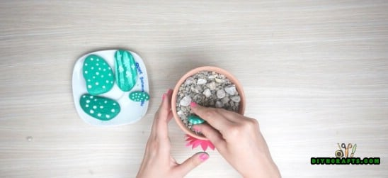 Cactus - 5 Cute Craft Ideas Using Garden Stones in Under 5 Minutes