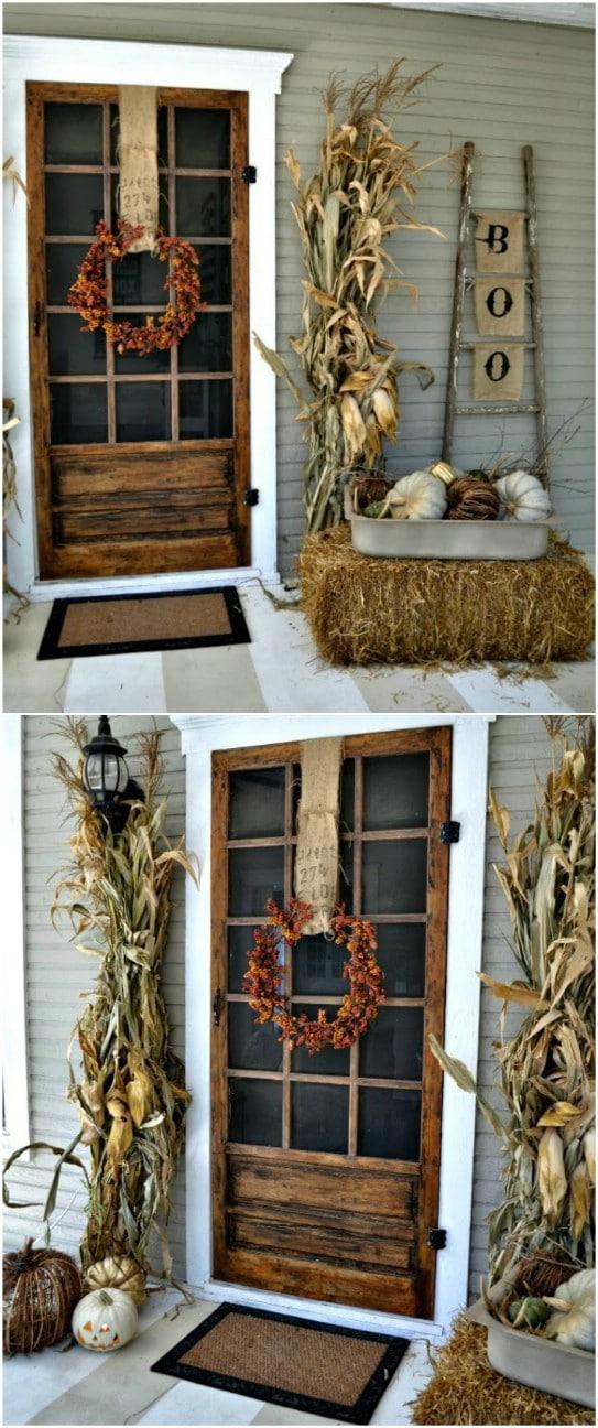 Rustic Cornstalk Front Porch