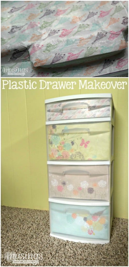 These plastic bin drawers with scrapbook paper have a softer look.