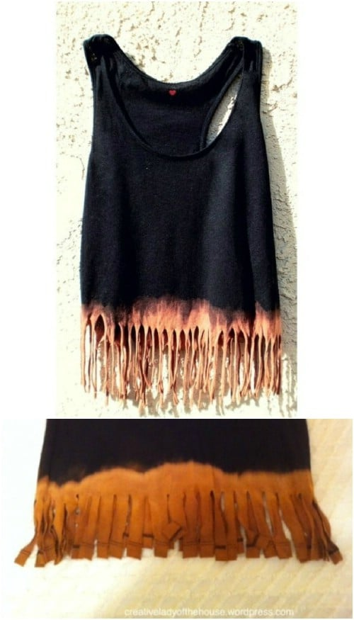 Cut fringes into a T-shirt and do some bleaching (or dying) for a really awesome effect.