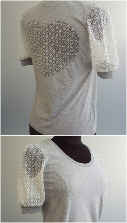 Lace sleeves and a heart-shaped cutout.