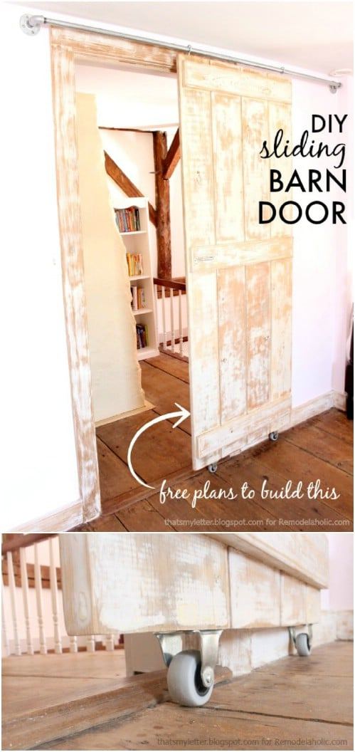 Distressed Sliding Barn Door in Pastel Hues
