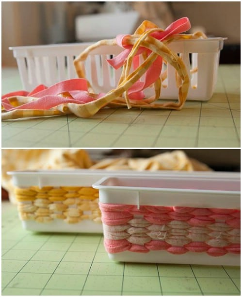 Make a plastic bin look like a woven basket.