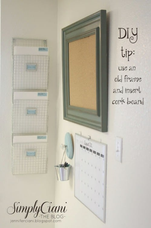 Insert corkboard into an old frame.