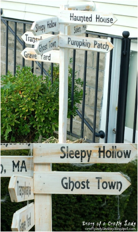 DIY Directional Halloween Post Sign - 25 Fantastic Reclaimed Wood Halloween Decorations For Your Home And Garden