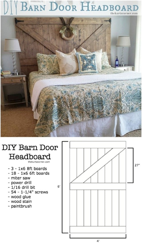 Barn Door Headboard with a Wreath