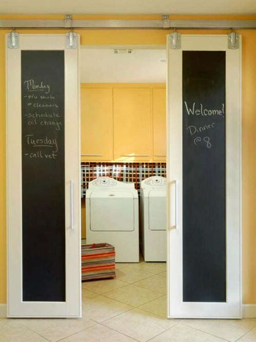 Chalkboard Family Command Center Sliding Barn Doors