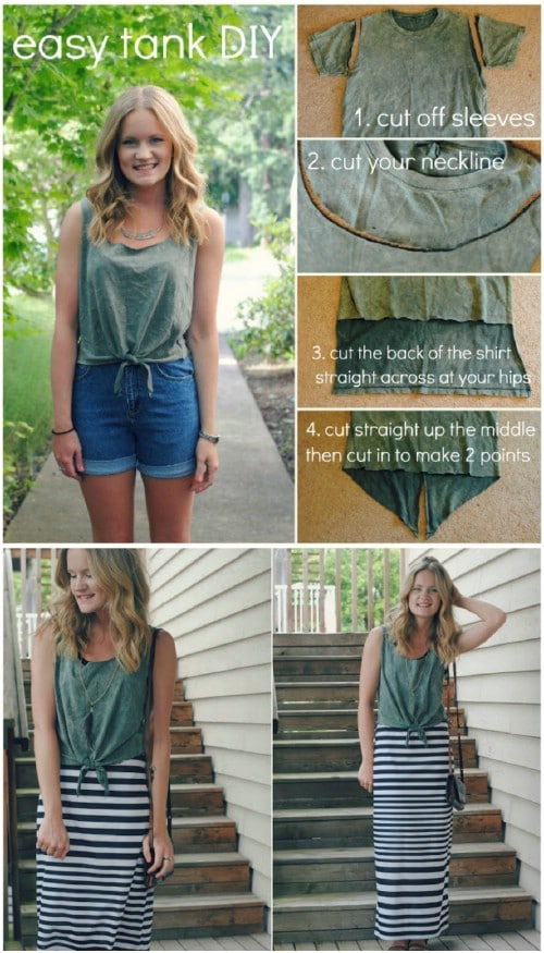 Turn your T-shirt into a tank top the quick and easy way.