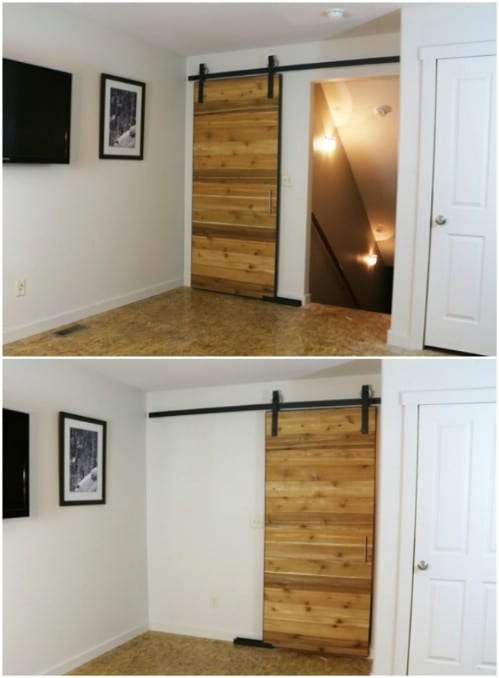 This Sliding Barn Door Features Beautiful Horizontal Planks