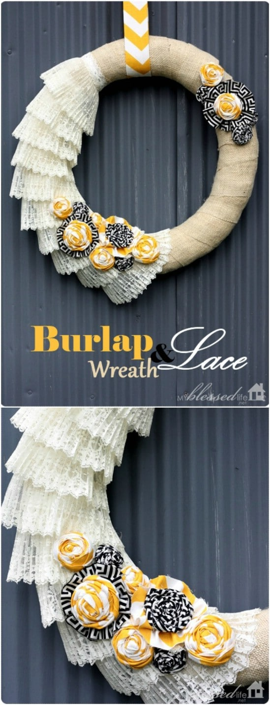 DIY Burlap And Lace Fall Wreath