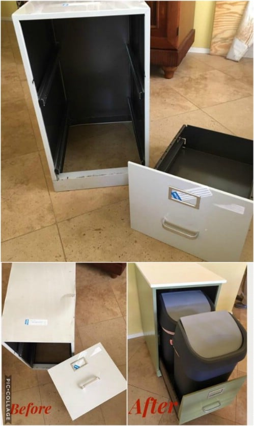 Repurposed Filing Cabinet Recycling Bin - 20 DIY Home Recycling Bins That Help You Organize Your Recyclables