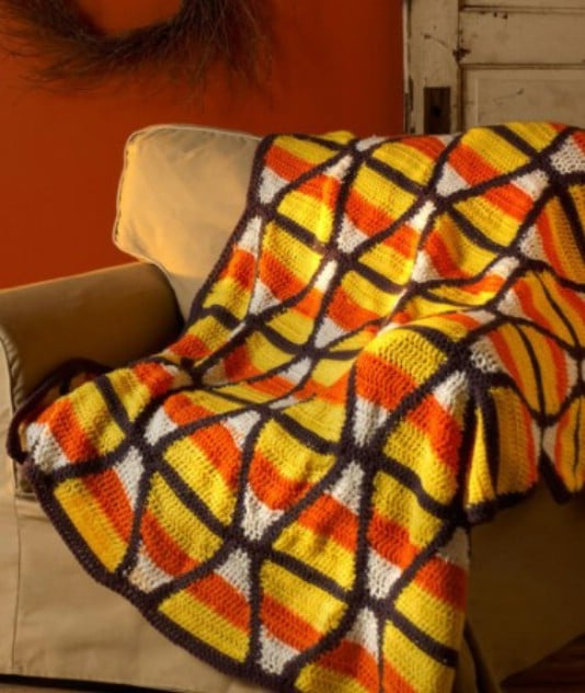Colorful Crocheted Candy Corn Throw