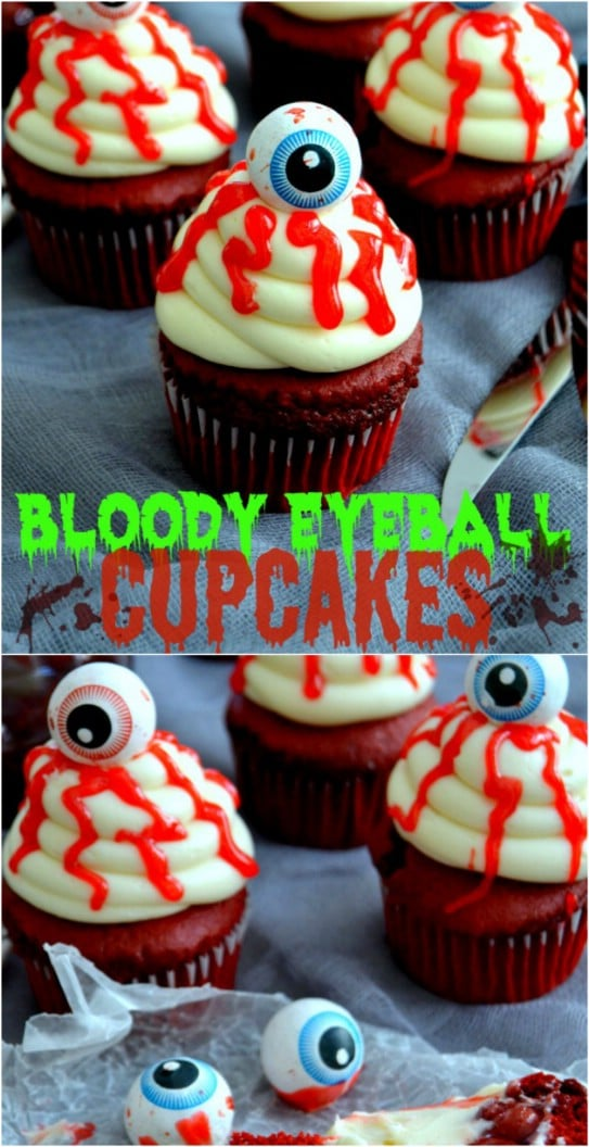 Gruesome Bloody Eyeball Cupcakes