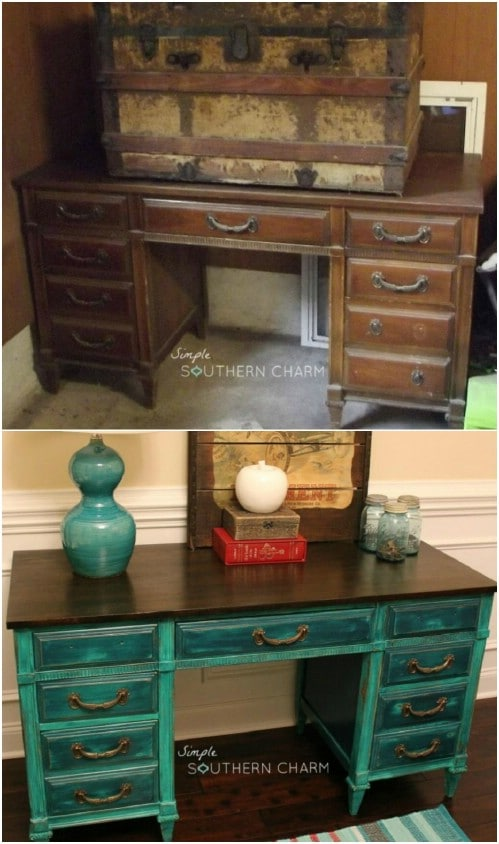 Teal makes for a beautiful contrast with metallic design elements.