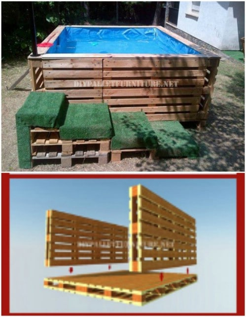 Build a Swimming Pool Using Pallets