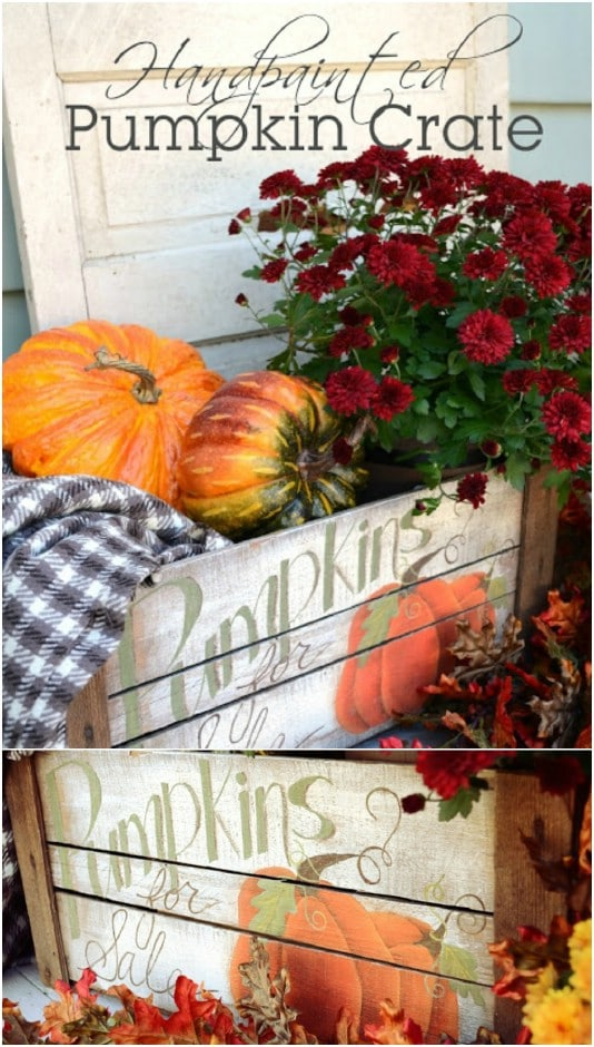 Painted Fall Distressed Pumpkin Crate