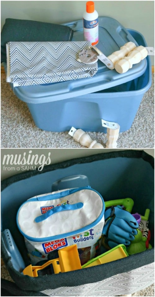 Turn an ordinary plastic bin into a cute toy box.