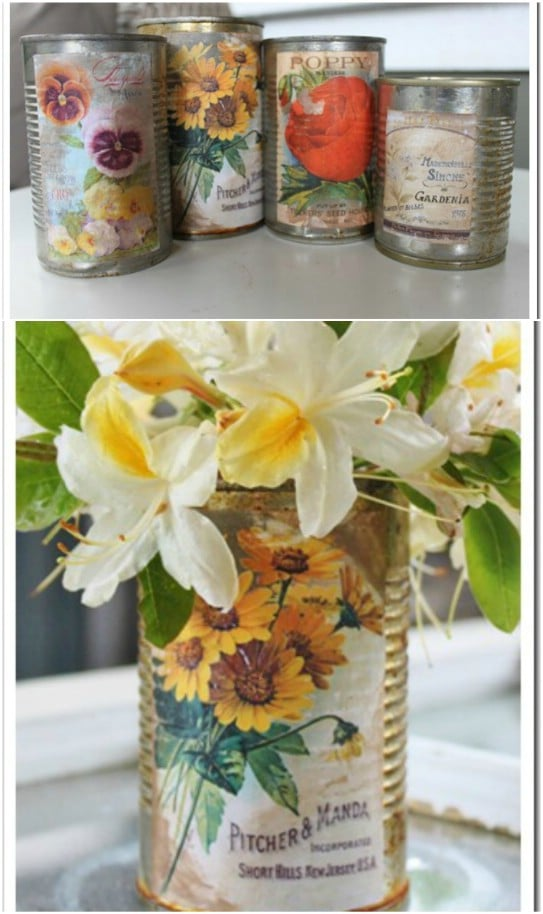 Upcycled Tin Can And Calendar Vases