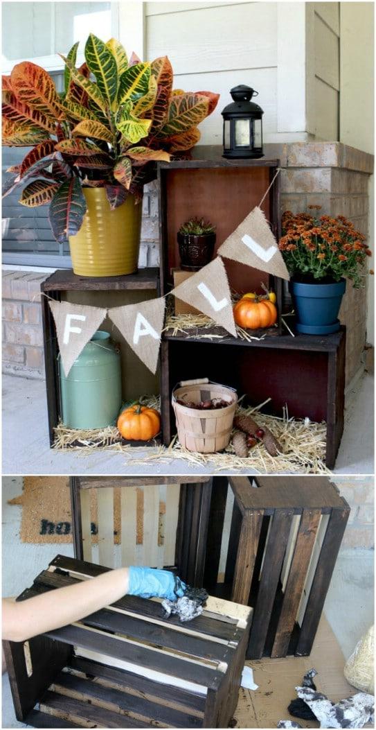 Rustic Fall Crate Porch Display