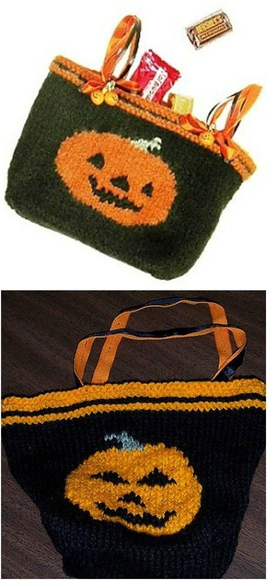 Knit Jack-O-Lantern Trick-Or-Treat Bag