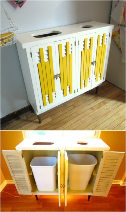DIY Hidden Recycling Station - 20 DIY Home Recycling Bins That Help You Organize Your Recyclables